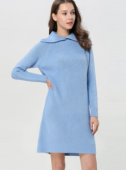 Turtleneck Straight Loose Sweater Dress
