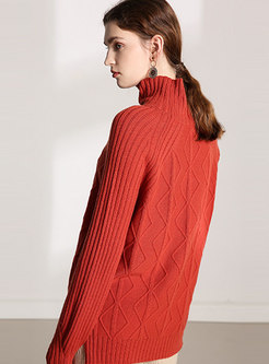 Casual High Collar Loose Pullover Sweater