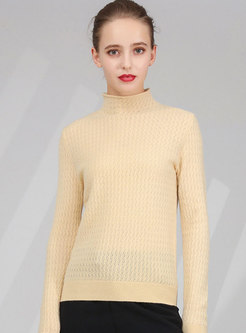 Solid Color High Collar Slim Pullover Sweater
