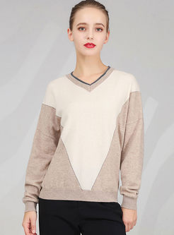 Color-blocked V-neck Pullover Loose Sweater