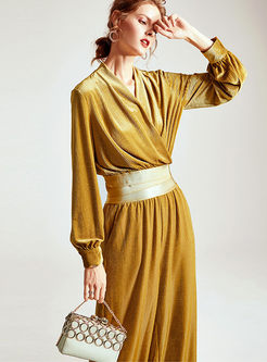 V-neck Lantern Sleeve Loose Pant Suits