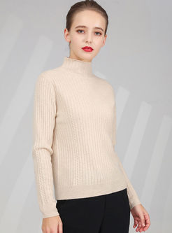Brief Turtleneck Slim Pullover Sweater