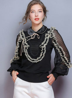 Lapel Lace Patchwork Dot Knitted Top