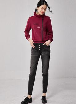 Turtleneck Letter Embroidered Plush Sweatshirt