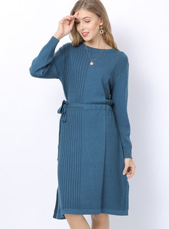 O-neck Sweater Dress With Drawcord