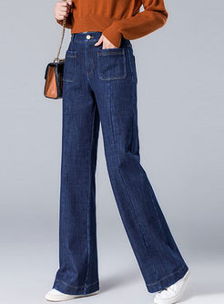 Blue High Waisted Wide Leg Denim Pants