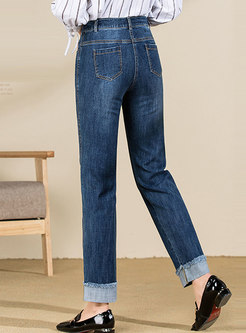 Casual Patchwork Straight Denim Pants