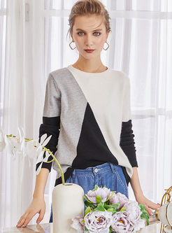 O-neck Long Sleeve Pullover Wool Sweater