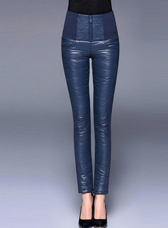 High Waisted Slim Cotton Thick Pencil Down Pants