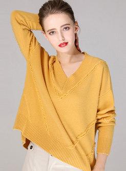 Solid Color V-neck Tassel Loose Pullover Sweater