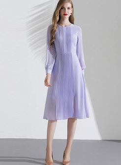 Solid Color Pleated A Line Dress