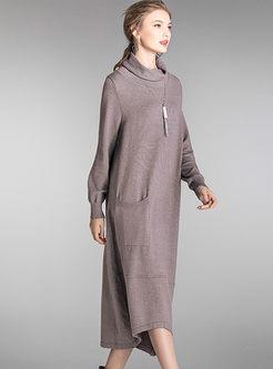 Plus Size Turtleneck Loose Sweater Dress