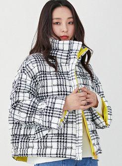 Fashion Stand Collar Plaid Short Bubble Coat