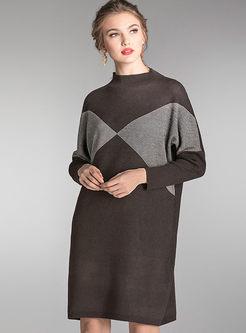 Plus Size Patchwork Loose Sweater Dress