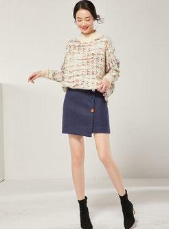 High Waisted Asymmetric Mini Slim Skirt