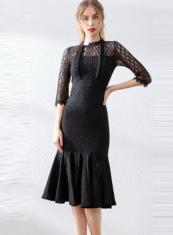 Lace Openwork Patchwork Mermaid Bodycon Dress