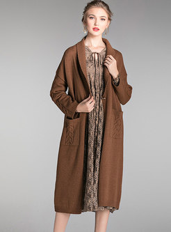Turn Down Collar Long Knit Coat