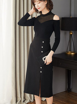 Patchwork Off Shoulder Split Bodycon Dress