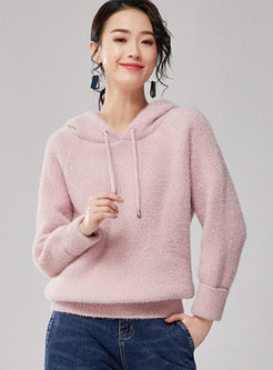 Solid Color Hooded Loose Sweater