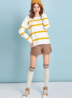 Casual Color-blocked Striped Straight Sweater