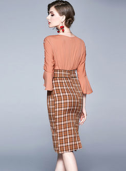V-neck Flare Sleeve Patchwork Plaid Bodycon Dress