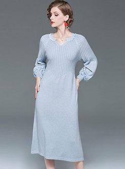 Lantern Sleeve Sequin Midi Sweater Dress