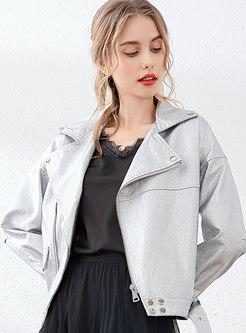 Lapel Short Straight Biker Coat