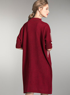 Stand Collar Half Sleeve Color-blocked Straight Sweater Dress
