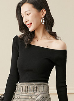 Slash Collar Slim Pullover Sweater