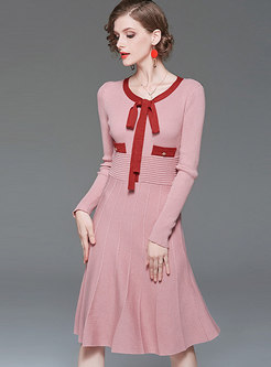 Color-blocked Bowknot A Line Dress