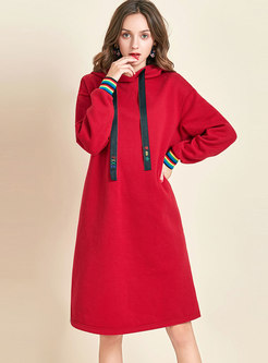 Casual Hooded Color-blocked Thick Shift Dress