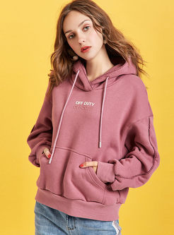 Casual Letter Embroidered Loose Hoodie