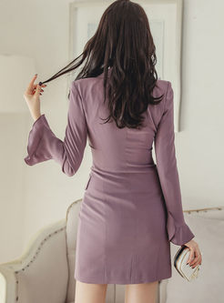 Notched Long Sleeve Mini Bodycon Dress