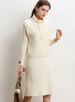 Solid Color Slim Sweater Dress With Vest
