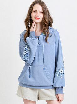Blue Lantern Sleeve Embroidered Loose Hoodie