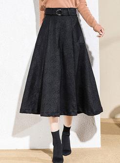 High Waisted Big Hem Suede A Line Skirt