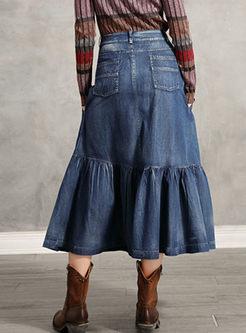 Retro Embroidered Denim Long Skirt