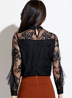 Stand Collar Lace Patchwork Perspective Blouse