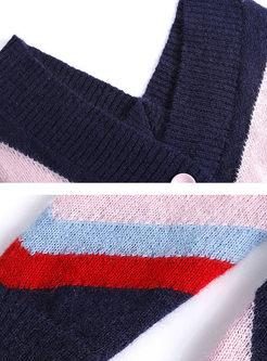Stylish V-neck Color-blocked Loose Cardigan