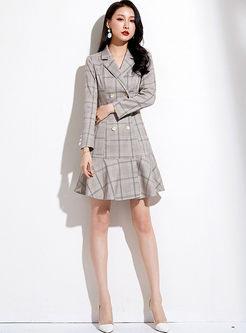 Notched Long Sleeve Plaid Falbala Dress