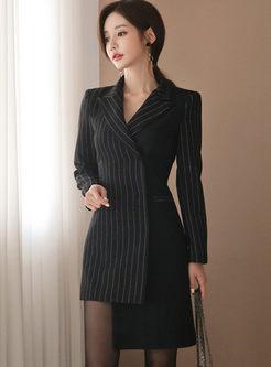Black Striped Asymmetric Bodycon Dress