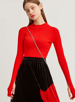 Red Long Sleeve Pullover Slim Sweater