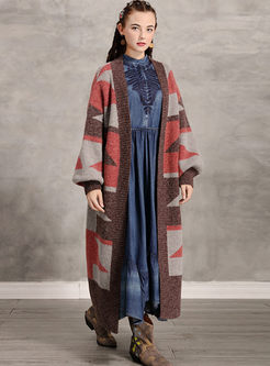 Lantern Sleeve Geometric Pattern Sweater Coat