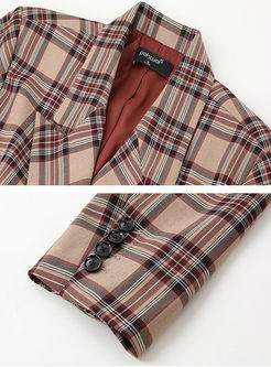 Notched Long Sleeve Loose Plaid Blazer
