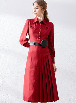 Casual Long Sleeve Waist Midi Dress
