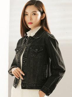Casual Lapel Short Denim Jacket