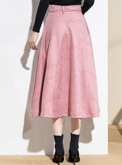 Brief Solid Color A Line Skirt
