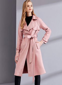 Pink Lapel Suede Waist Trench Coat