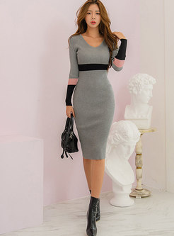 Sexy Color-blocked Bodycon Sweater Dress