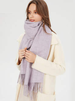 Solid Color Tassel Thick Scarf